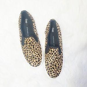 GAP calf hair leopard slip on sneakers